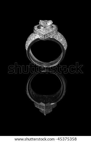 Diamond Ring on black ground - stock photo
