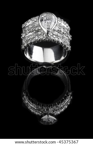 Diamond Ring on black ground - stock photo