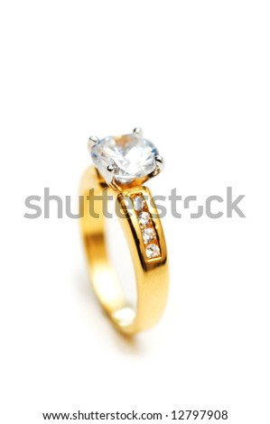 Diamond ring on white - shallow depth of field