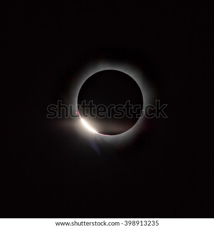 Diamond ring, prominence and internal corona (second contact). Total solar eclipse March 9, 2016. An observation from Tidore island. Maluku Utara, Indonesia (Original photo! Not NASA public pictures!) - stock photo