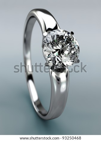 Diamond Ring wedding gift isolated. Close Up of a White Gold Ring with Diamonds. - stock photo