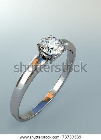 Diamond Ring wedding gift isolated. Close Up of a White Gold Ring with Diamonds. Beautiful sparkling diamond on a light reflective surface. High quality 3d render. - stock photo