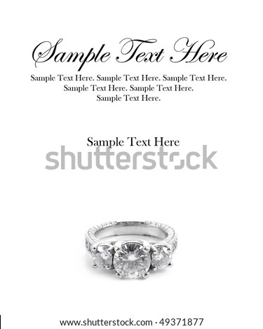 Diamond Ring with Sample Text Space Above - stock photo