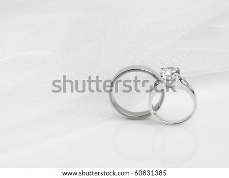 diamond rings for wedding day - stock photo