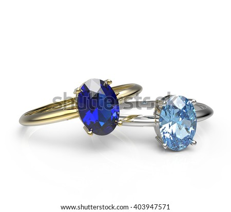 Diamond Rings. Isolated on a white background.  Fashion jewelry. 3d digitally rendered illustration - stock photo