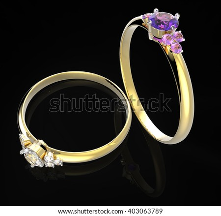 Diamond Rings. Isolated on black background.  Fashion jewelry. 3d digitally rendered illustration