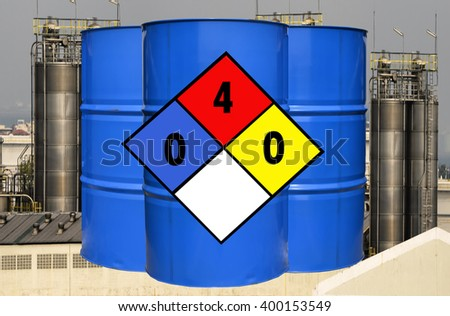 Diamond-shape Toxic Chemical and Flammable tank the most dangerous type isolated on white background. - stock photo