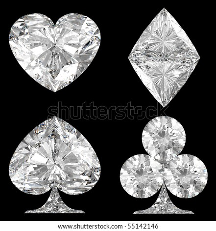Diamond shaped Card Suits over black background. Extralarge resolution.  Other gems are in my portfolio. - stock photo