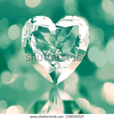 diamond shaped green heart - stock photo