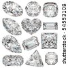 Diamond shapes isolated on white. 3d illustration. - stock photo