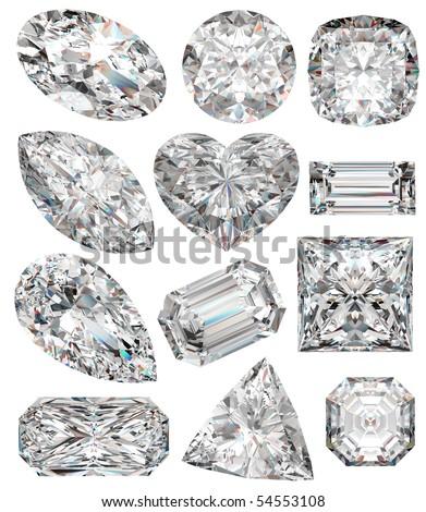 Diamond shapes isolated on white. 3d illustration. - stock photo