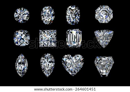 Diamond shapes on a black  background. 3d illustration. - stock photo