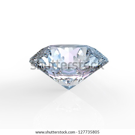 diamond solitaire on a white background - stock photo