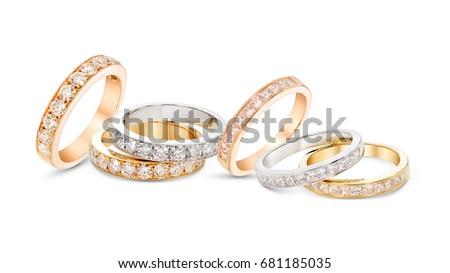diamond stacked rings group on white goldyellow goldrose gold