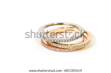 Diamond Stacked Rings Group On White Stock Photo Royalty Free