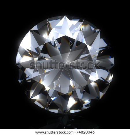 diamond stone on black space. Beautiful sparkling diamond on a light reflective surface. High quality 3d render with HDRI lighting and ray traced textures. - stock photo