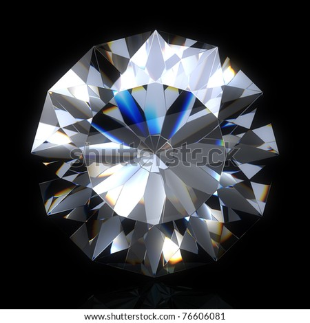 diamond stone on black space. Beautiful sparkling diamond on a light reflective surface. High quality 3d render with. - stock photo