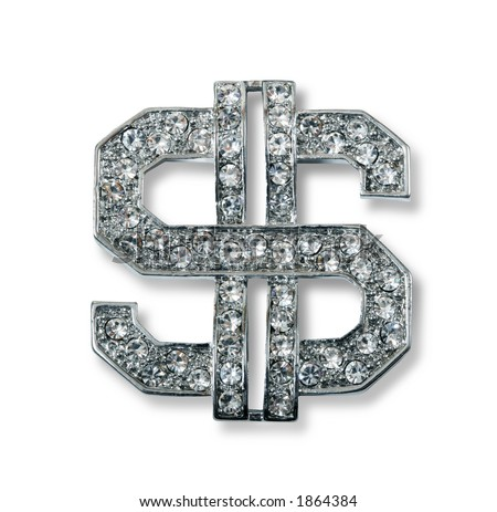 Diamond studded dollar sign bling jewelry