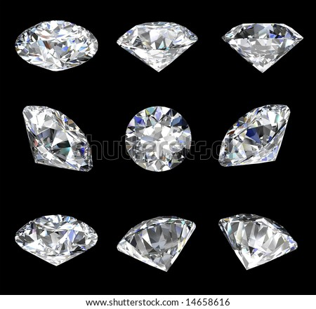 Diamond views isolated on a black background - stock photo
