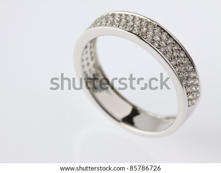 Diamond wedding ring isolate on white background.