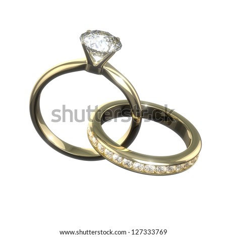 Diamond wedding rings - isolated with clipping path - stock photo