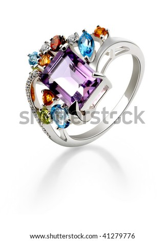 Diamond wide ring - stock photo