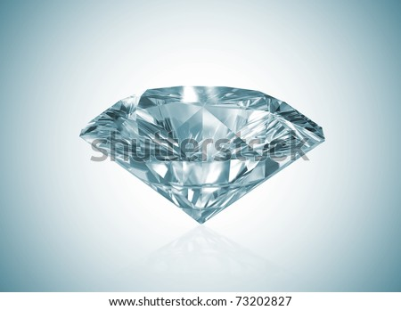 Diamond with blue shade - stock photo