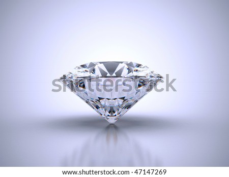 Diamond with reflections on blue background