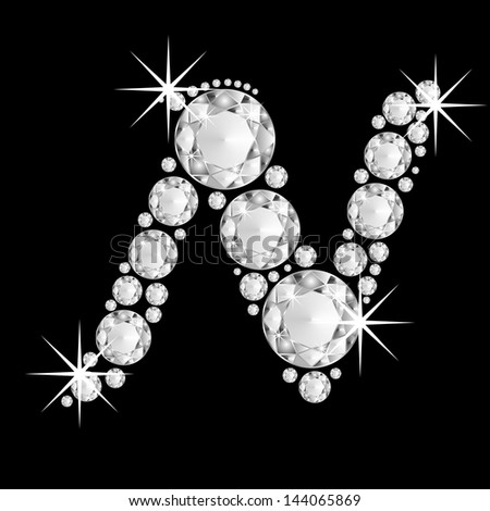 Diamonds alphabet capital letter N - stock photo