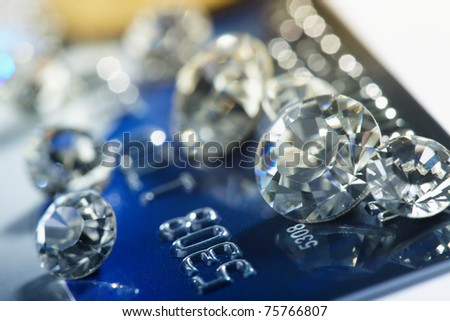 diamonds and money - stock photo