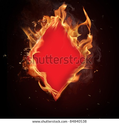 Diamonds card in Fire - stock photo