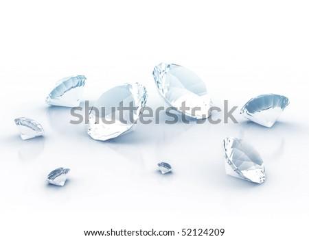 Diamonds 3d rendering - stock photo