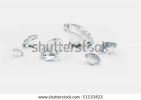 Diamonds isolated on white - stock photo