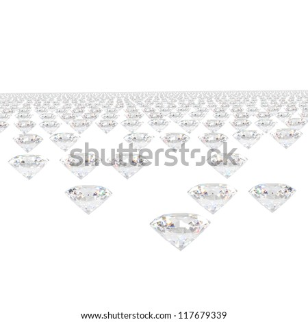 diamonds isolated on white background. - stock photo