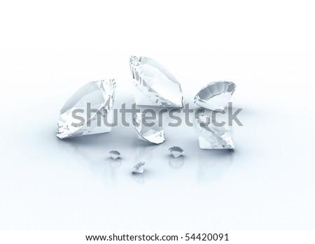 Diamonds isolated on white background - stock photo