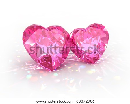 Diamonds jewel hearts for Valentines Day isolated on light background. Beautiful sparkling diamonds on a light reflective surface. High quality 3d render with HDRI lighting and ray traced textures.