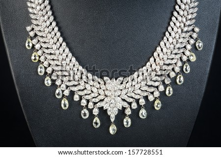diamonds necklace - stock photo
