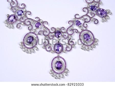diamonds necklace - stock photo