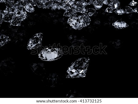Diamonds on black background. Detailed illustration. 3D rendering.