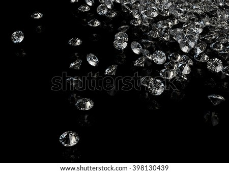 Diamonds on black background with space for your text. 3D rendering