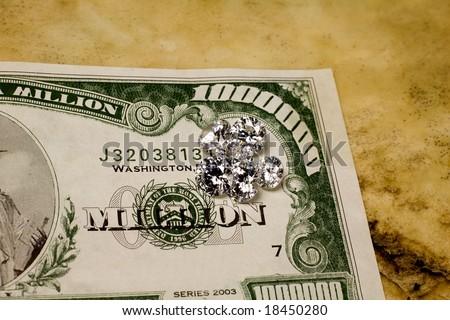 Diamonds on $1 million bill. - stock photo