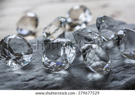 diamonds on stone slab - stock photo