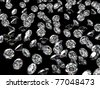 Diamonds on the black glossy surface - stock photo