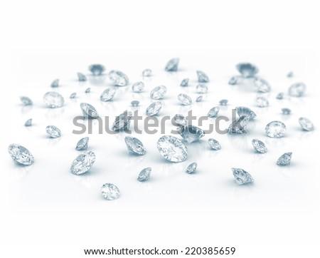 Diamonds on white shiny background  - stock photo