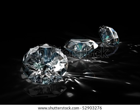 diamonds - one shape different angle isolated on black background - stock photo