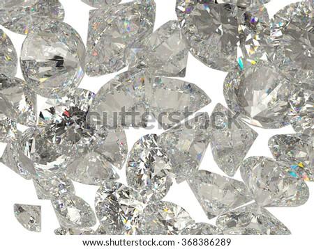 Diamonds or gemstones isolated on white background - stock photo