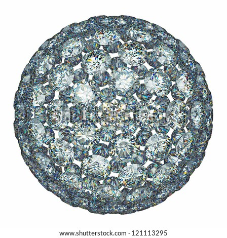 Diamonds or gemstones sphere isolated over white. Large resolution - stock photo