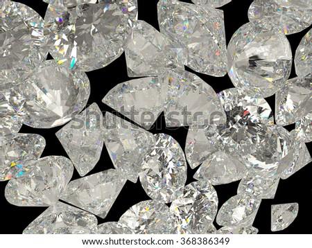 Diamonds or jewelry gemstones isolated on black background - stock photo