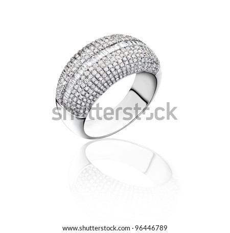 Diamonds ring on white gold body shape the most luxurious gift isolated on white  - stock photo