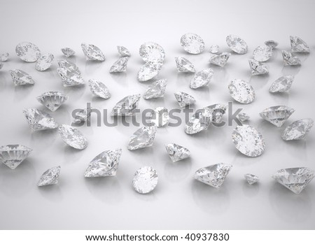diamonds spread out - stock photo